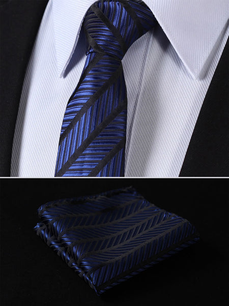 "TS437V7 Navy Blue Black Skinny Stripes 2.75"" 100%Silk Woven Slim Skinny Narrow Men Tie Necktie Handkerchief Pocket Square Suit Set"