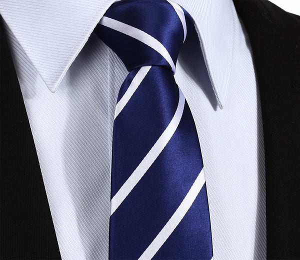 "TS702V7 Navy Blue White Skinny Stripes 2.75"" 100%Silk Woven Slim Skinny Narrow Men Tie Necktie Handkerchief Pocket Square Suit Set"