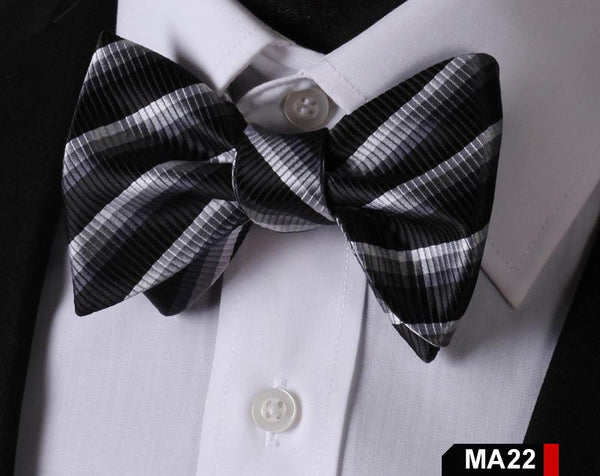 MA22 BLACK GRAY 100%Silk Striped Bow Ties Men SELF Tie Classic Wedding Butterfly