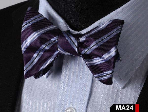 MA24 GREY, PURPLE 100%Silk Striped Bow Ties Men SELF Tie Classic Wedding Butterf