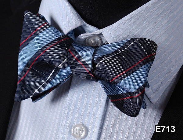 E713 BLUE, RED Plaid Check Bow Tie 100%Silk Men Classic Wedding Butterfly Self T