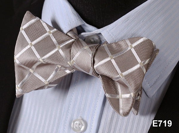 E719 CREAM Plaid Check Bow Tie 100%Silk Men Classic Wedding Butterfly Self Tie