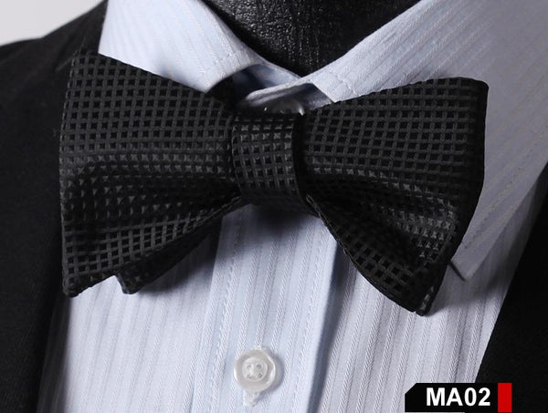 MA02 BLACK100%Silk Striped Bow Ties Men SELF Tie Classic Wedding Butterfly Bow T
