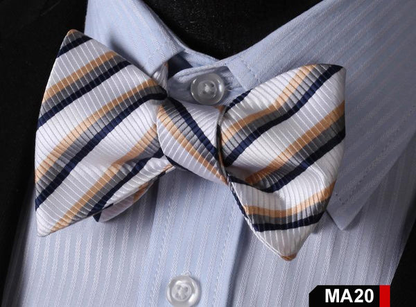 MA20 WHITE, GREY, BROWN100%Silk Striped Bow Ties Men SELF Tie Classic Wedding Bu