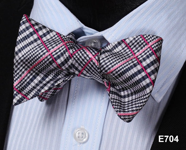 E704 BLACK,PINK,RED Plaid Check Bow Tie 100%Silk Men Classic Wedding Butterfly S