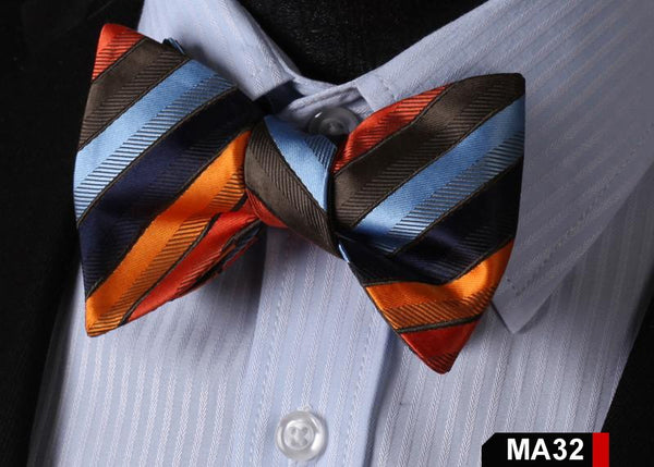MA32 BLUE, ORANGE,BROWN100%Silk Striped Bow Ties Men SELF Tie Classic Wedding Bu