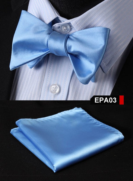 EPA03 BLUE Gravata Solid Bow Men tie 100%Silk Woven Party Classic Pocket Square