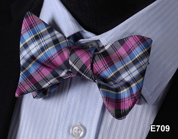E709 PINK,BUE,YELLOW, BLACK Plaid Check Bow Tie 100%Silk Men Classic Wedding But