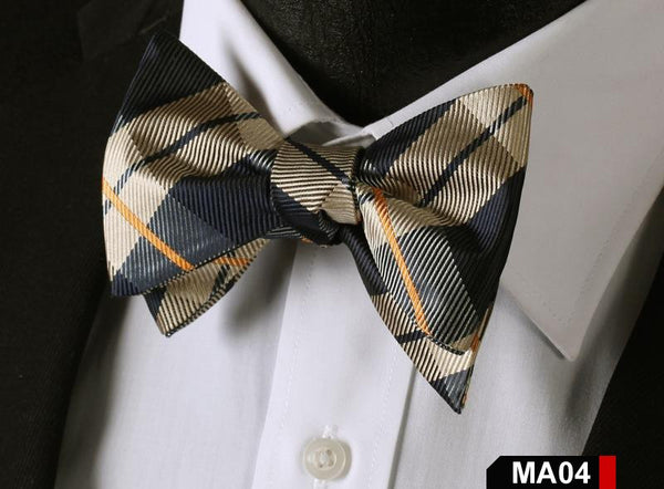 MA04 BLUE, YELLOW100%Silk Striped Bow Ties Men SELF Tie Classic Wedding Butterfl