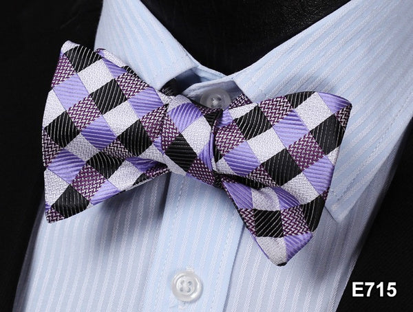 E715 PURPLE, BLACK, WHITE Plaid Check Bow Tie 100%Silk Men Classic Wedding Butte