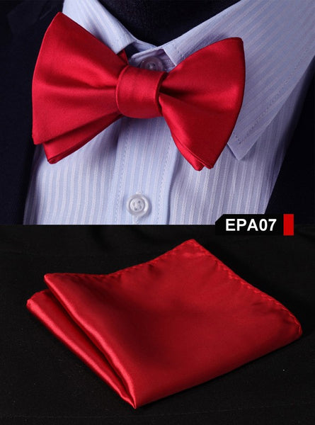 EPA07 RED Gravata Solid Bow Men tie 100%Silk Woven Party Classic Pocket Square S