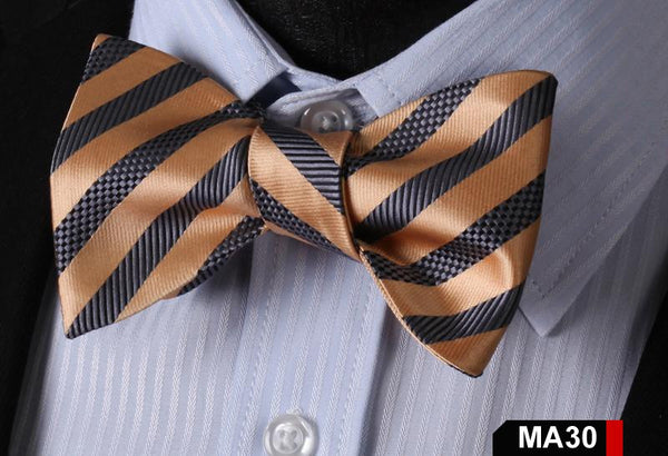 MA30 GRAY AND BROWN100%Silk Striped Bow Ties Men SELF Tie Classic Wedding Butter
