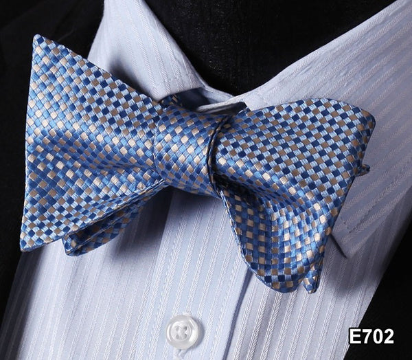 E702 BLUE Plaid Check Bow Tie 100%Silk Men Classic Wedding Butterfly Self Tie