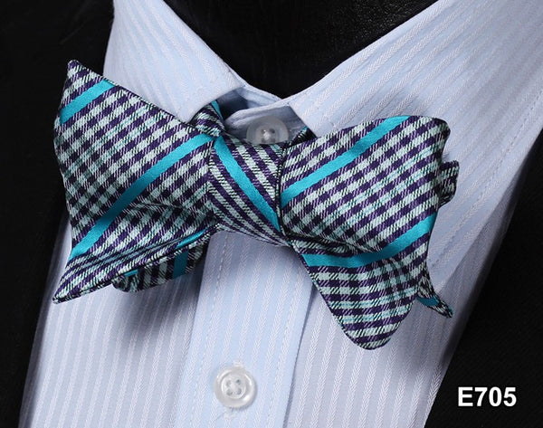 E705 BLACK, WHITE, BLUE Plaid Check Bow Tie 100%Silk Men Classic Wedding Butterf