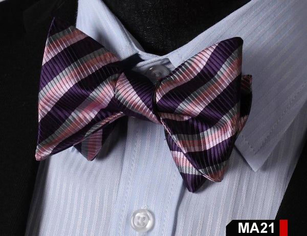 MA21 PURPLE, PINK,100%Silk Striped Bow Ties Men SELF Tie Classic Wedding Butterf
