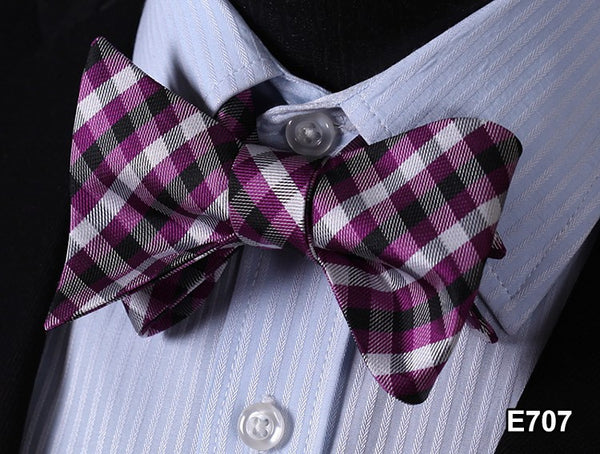E707 PURPLE BLACK, WHITE Plaid Check Bow Tie 100%Silk Men Classic Wedding Butter