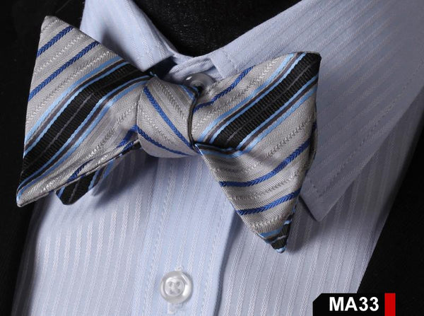 MA33 GREY,BLUE100%Silk Striped Bow Ties Men SELF Tie Classic Wedding Butterfly B