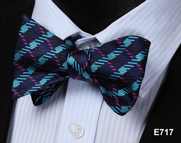 E717 BLUE PURPLE Plaid Check Bow Tie 100%Silk Men Classic Wedding Butterfly Self