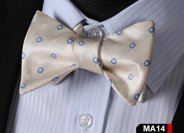 MA14 BLUE, CREAM100%Silk Striped Bow Ties Men SELF Tie Classic Wedding Butterfly