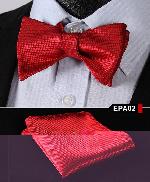 EPA02 RED Gravata Solid Bow Men tie 100%Silk Woven Party Classic Pocket Square S