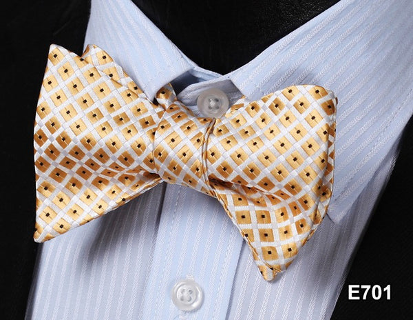 E701 GOLD Plaid Check Bow Tie 100%Silk Men Classic Wedding Butterfly Self Tie