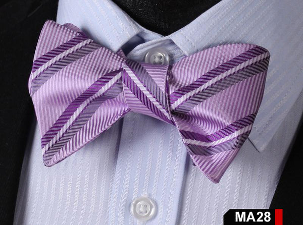 MA28 PURPLE100%Silk Striped Bow Ties Men SELF Tie Classic Wedding Butterfly Bow
