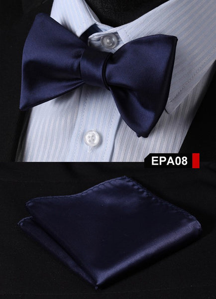 EPA08 NAVY BLUE Gravata Solid Bow Men tie 100%Silk Woven Party Classic Pocket Sq