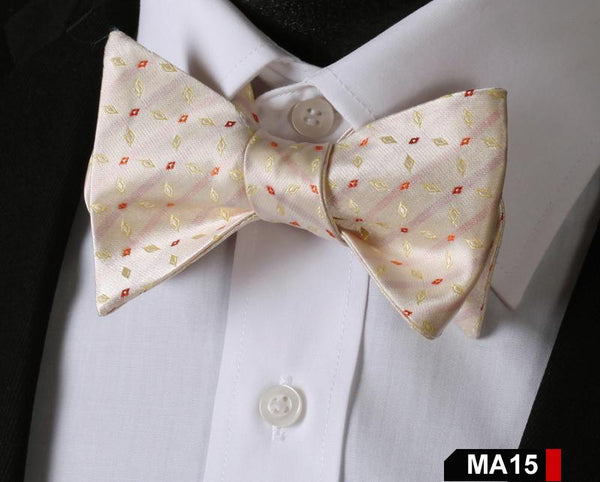 MA15 RED,CREAM100%Silk Striped Bow Ties Men SELF Tie Classic Wedding Butterfly B