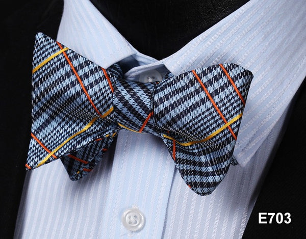 E703 GRAY, BLACK, ORANGE YELLOWPlaid Check Bow Tie 100%Silk Men Classic Wedding