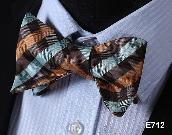 E712 BROWN,Plaid Check Bow Tie 100%Silk Men Classic Wedding Butterfly Self Tie