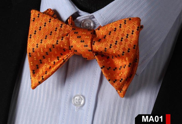 MA01 ORANGE100%Silk Striped Bow Ties Men SELF Tie Classic Wedding Butterfly Bow