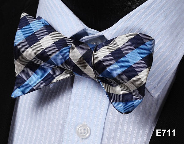 E711 BLUE, WHITE Plaid Check Bow Tie 100%Silk Men Classic Wedding Butterfly Self