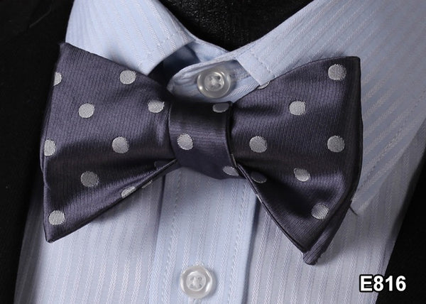 E816 Grey Cotton Blend Men Gravata Classic Wedding Bow Tie, Butterfly Self Tie