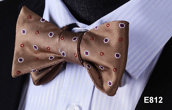 E812 BROWN RED DOT Cotton Blend Men Gravata Classic Wedding Bow Tie, Butterfly S