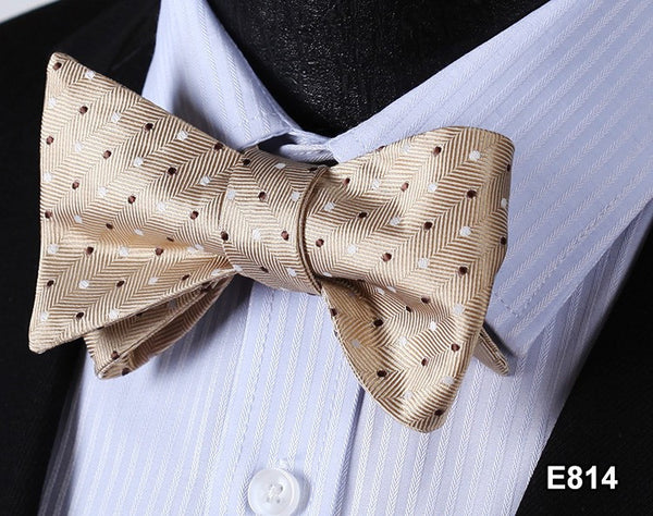 E814 BROWN Cotton Blend Men Gravata Classic Wedding Bow Tie, Butterfly Self Tie