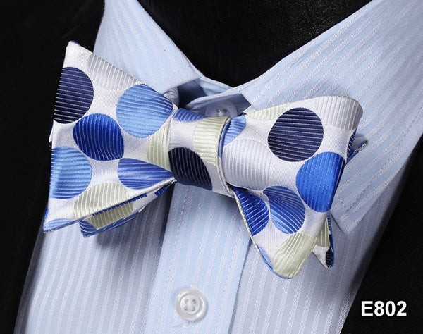 E802 WHITE, BLUE DOT Cotton Blend Men Gravata Classic Wedding Bow Tie, Butterfly