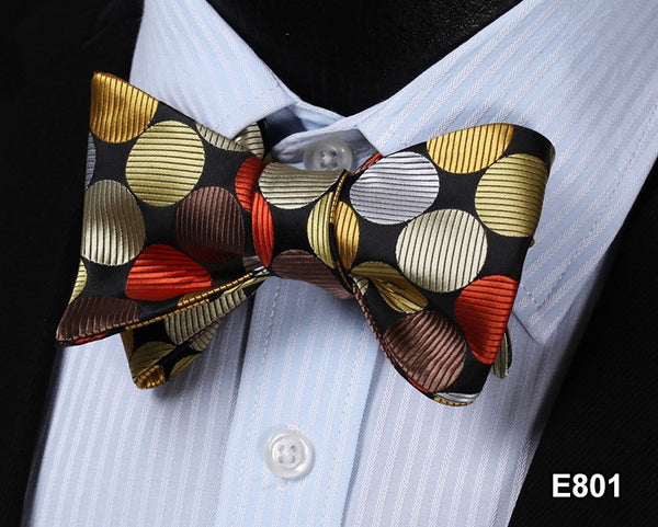 E801 BROWN DOT Cotton Blend Men Gravata Classic Wedding Bow Tie, Butterfly Self