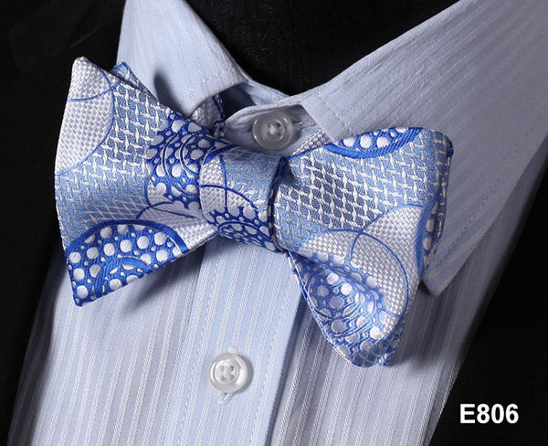 E806 BLUE Cotton Blend Men Gravata Classic Wedding Bow Tie, Butterfly Self Tie