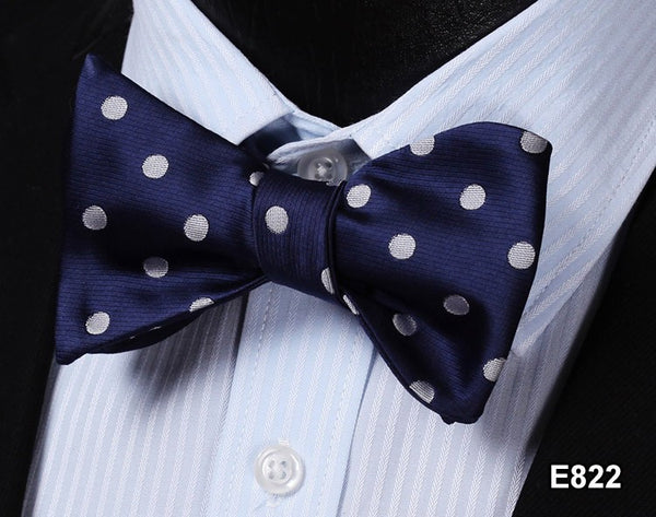 E822 BLUE, GREY Cotton Blend Men Gravata Classic Wedding Bow Tie, Butterfly Self