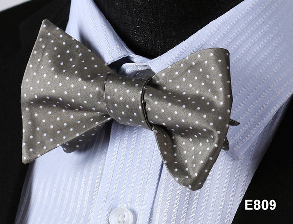 E809 GREY, WHITE DOT Cotton Blend Men Gravata Classic Wedding Bow Tie, Butterfly
