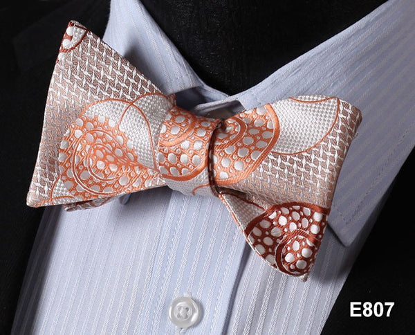 E807 ORANGE Cotton Blend Men Gravata Classic Wedding Bow Tie, Butterfly Self Tie