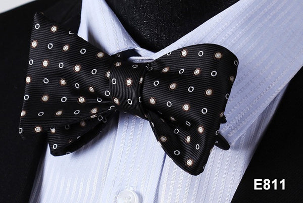 E811 BLACK, GRAY DOT Cotton Blend Men Gravata Classic Wedding Bow Tie, Butterfly