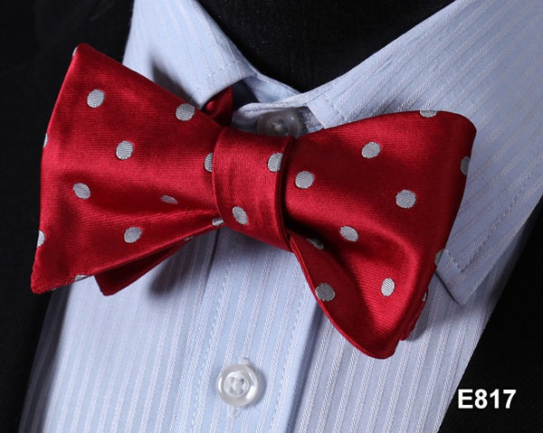 E817 RED, GRAY DOT Cotton Blend Men Gravata Classic Wedding Bow Tie, Butterfly S