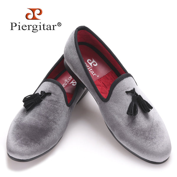 Piergitar 2016 New style Handmade Loafers Gray velvet Men shoes with Black suede tassel Fashion Party dress shoes men's flats
