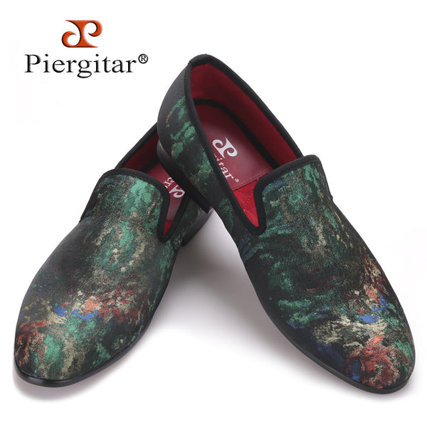 Piergitar New Mix Colors Graffiti Men Fabric Causal Shoes Men Plus Size Party Loafers Smoking Slippers Men's Flats Size 4-17