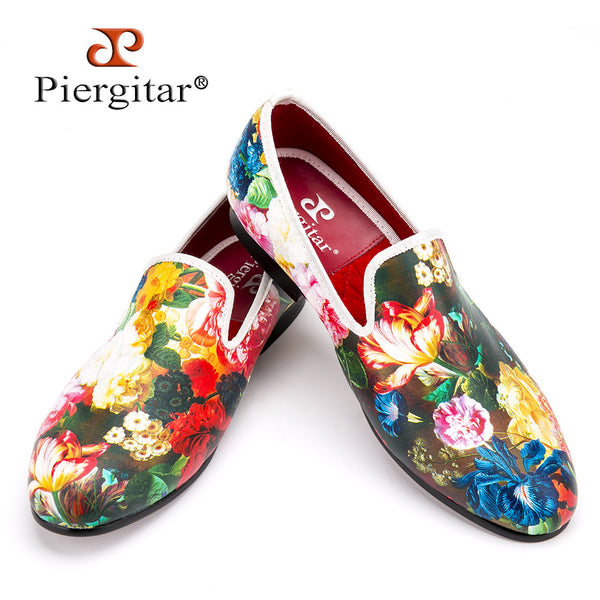 Piergitar new style flower and leaf pattern printing white men loafers wedding and party men dress shoes Fashion men's flats