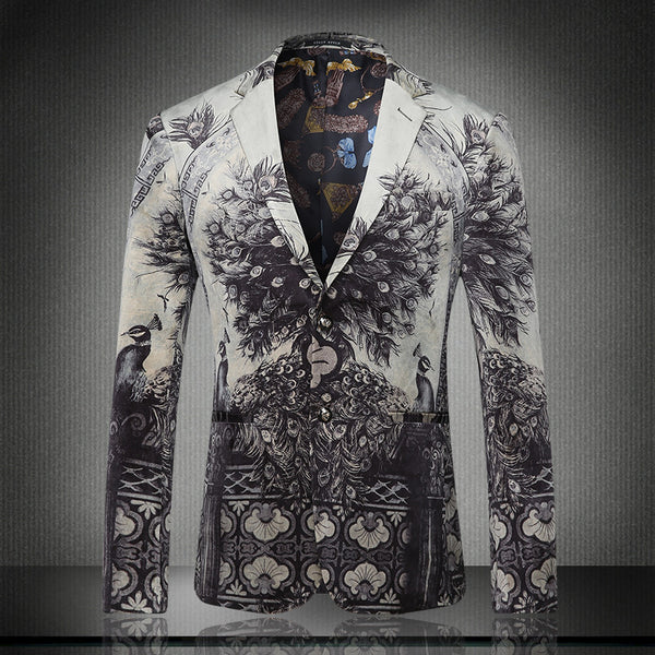 New arrival europe and america style fashion black peacock print slim fit blazer men costume homme men's clothing /XF40-1