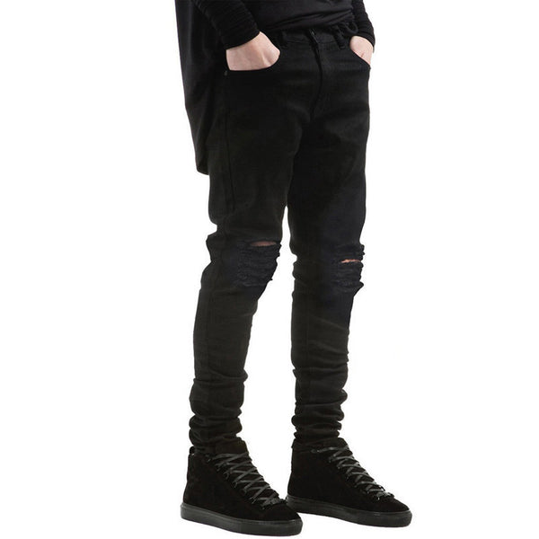 Men's Black Jeans Skinny Ripped Stretch Slim Pants Fashion Denim Trousers 30-36 Free Shipping DM#6