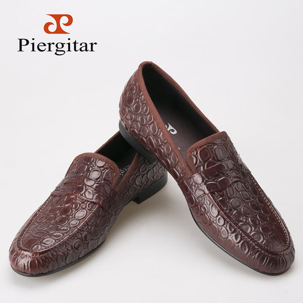 2015 Piergitar Men shoes with Marble embossing Brown casual shoes buckle Loafers SIze US 6-13 Free shipping