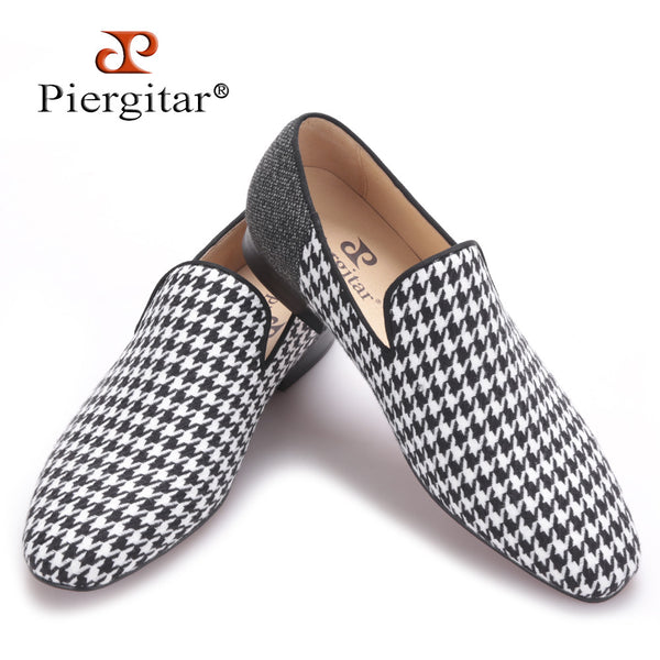 Piergitar brand 2017 Handmade men flats shoes with Swallow gird patchwork Party and Banquet men dress shoes big size men loafers